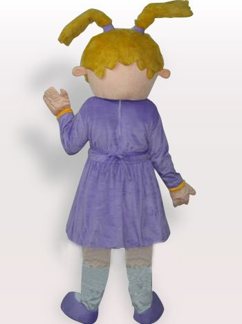 Purple Sad Girl Short Plush Adult Mascot Costume
