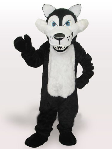 White Belly Wolf Short Plush Adult Mascot Costume