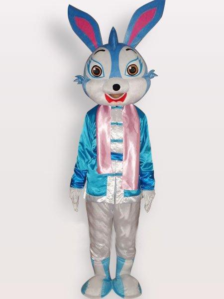 Blue Rabbit Short Plush Adult Mascot Costume
