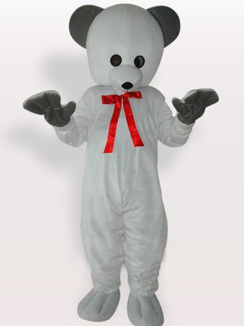 Cool White Bear Short Plush Adult Mascot Costume