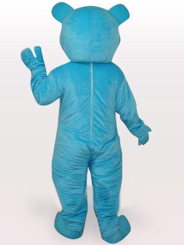 Perfect Blue Bear Short Plush Adult Mascot Costume