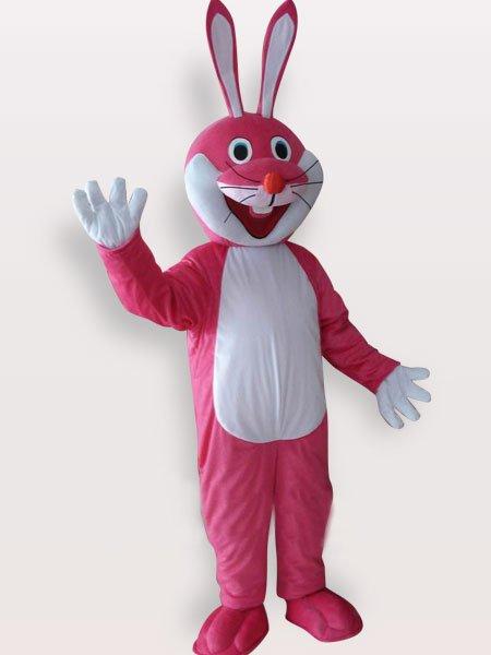 Pink Rabbit Short Plush Adult Mascot Costume