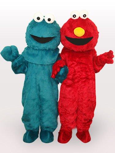Red Monster Short Plush Adult Mascot Costume