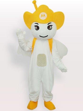 Yellow Moto Angel Short Plush Adult Mascot Costume