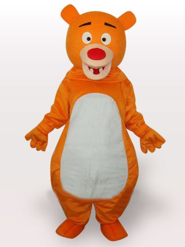 Popular Yellow Bear Short Plush Adult Mascot Costume
