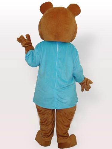Bear in Blue T-Shirt Adult Mascot Costume