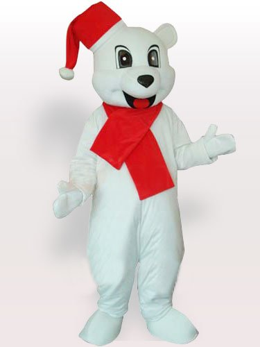 White Bear with Santa Hat Adult Mascot Costume