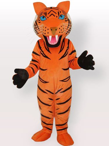 Orange Tiger with Black Stripes Adult Mascot Costume