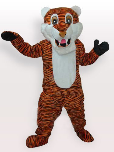 White Bell Tiger with Bright Pattern Adult Mascot Costume