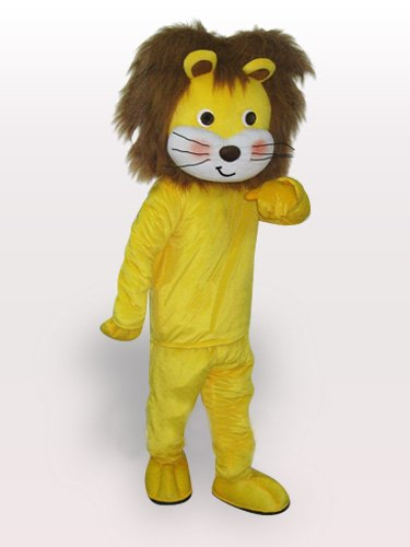 Yellow Lion Short Plush Adult Mascot Costume