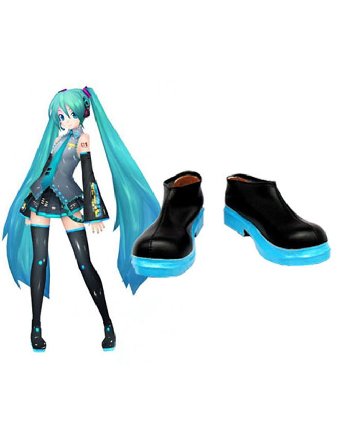 Cool Perfect Vocaloid Hatsune Miku Imitated Leather Halloween Cosplay Shoes