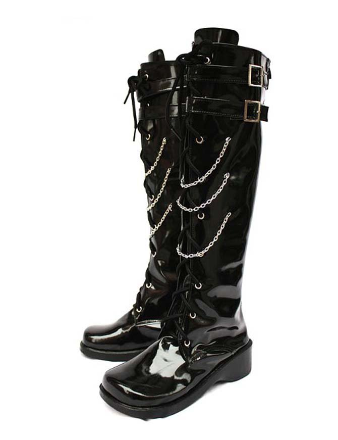 Vocaloid Kagamine Rin Black Faux Leather Halloween Cosplay Shoes