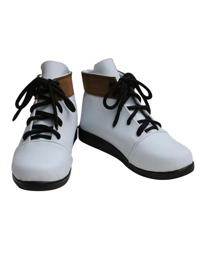 Vocaloid White Faux Leather Lace-Up Halloween Cosplay Shoes