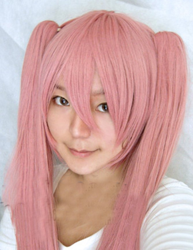 Vocaloid-miku Smoke Pink Long Hair Halloween Cosplay Wig