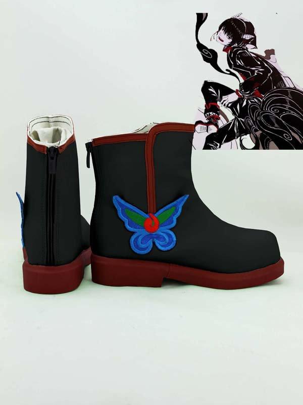 Black Hoozuki no Reitetsu Hakutaku Embroidery Cosplay Boots