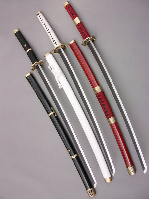 2015 One Piece Cosplay Roronoa Zoro Whole 3 Wood Cosplay Swords