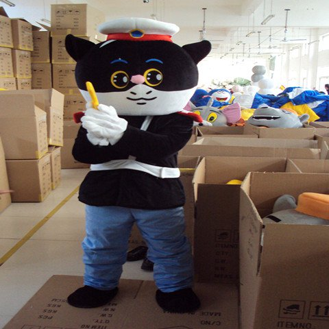 Black Sergeant Cartoon Doll Clothing Cartoon Walking Doll Clothing Performance Clothing Props Cartoon Dolls Clothes Mascot Costume