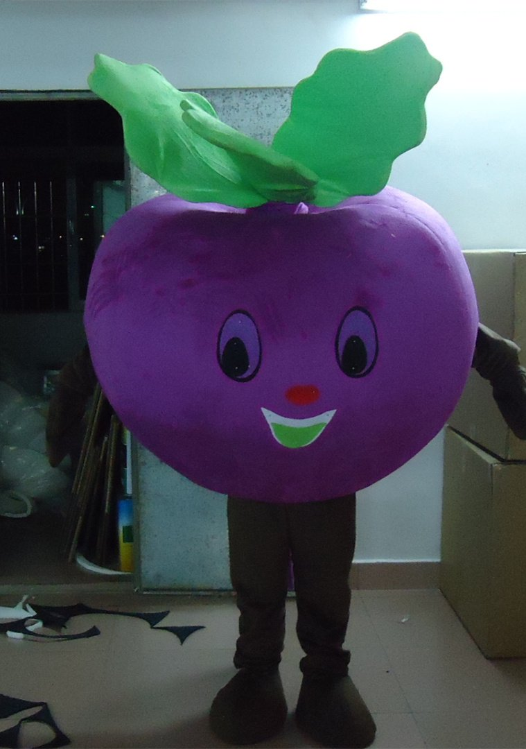 Professional Cartoon Doll Clothing Summer Fruits and Vegetables Purple Radish Mascot Cartoon Dolls Clothing Mascot Costume