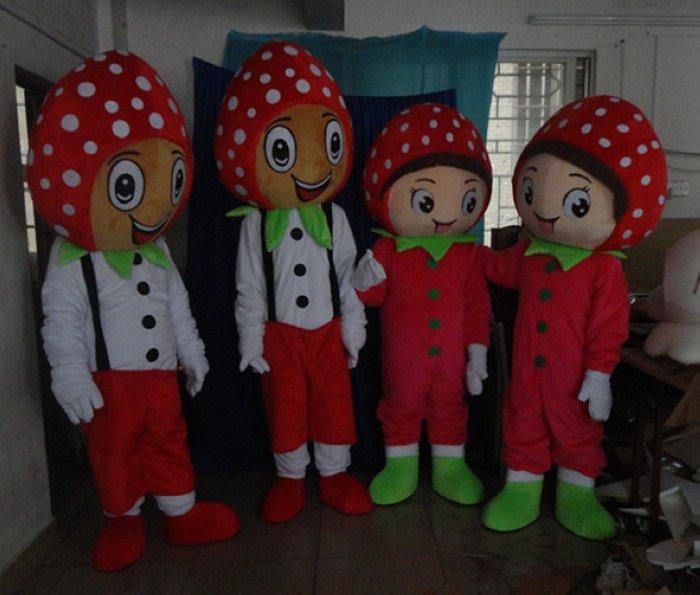 Cartoon Doll Clothing Summer Fruits Strawberry Fruit Strawberry Green Men Cartoon Dolls Cartoon Clothing Mascot Costume