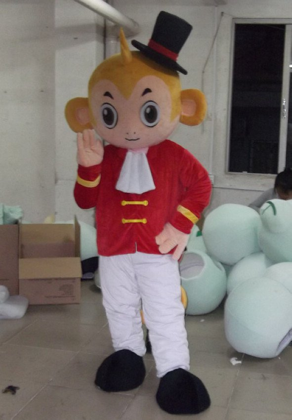 Wearing A Red Hat and Bow Tie Monkey Tail Volume Activity Walking Cartoon Dolls Performances Cartoon Doll Clothing Mascot Costume