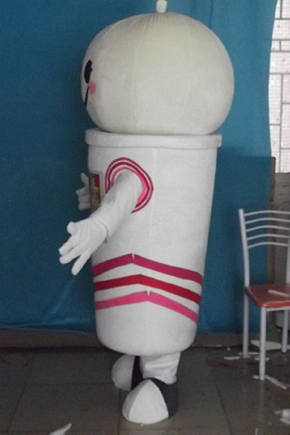 White Cup-shaped Bun Cartoon Doll Clothing Business Activities Show Real Effort Bun Cartoon Clothing Mascot Costume