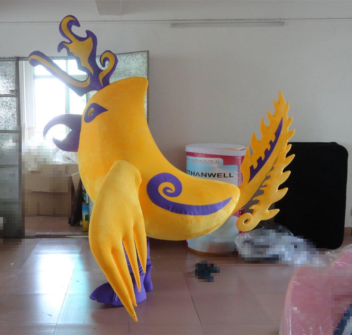 Professional Clothing Doll Clothing Giant Mascot Doll Pattern Cartoon Yellow Phoenix Birds Mascot Costume