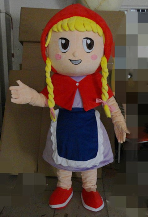 The Little Match Girl Cartoon Doll Cartoon Girl with Pigtails Little Red Riding Hood and The Big Bad Wolf Cartoon Clothing Mascot Costume