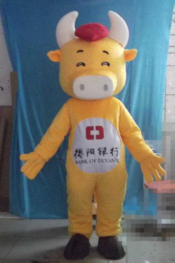 Protruding Mouth Yellow Cow Cartoon Doll Clothing Cartoon Costumes Character Design Logo Mascot Costume