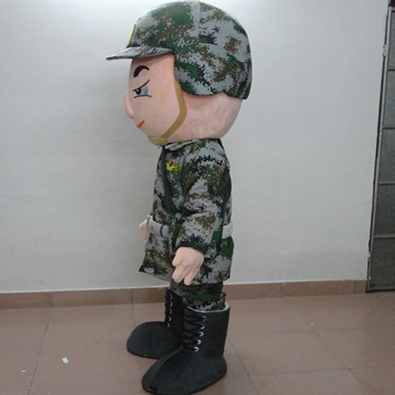 Soldiers in Camouflage Helmets Boots Cartoon Dolls Containing Not Abandon Not Give Up Soldier Cartoon Clothing Mascot Costume