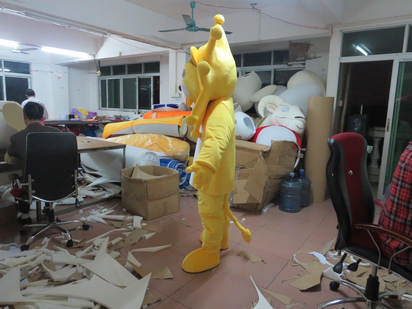 Yellow Lion Mascot Doll Costumes Environmentally Friendly Material Eva Super Soft Fleece Cleats Fan Mascot Costume