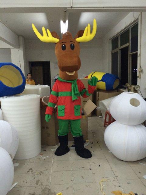 Golden Horn Christmas Deer Walking Cartoon Doll Clothing Apparel Christmas Reindeer Walking Doll Props Japan Mascot Costume
