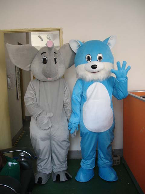 Like Walking Cartoon Doll Clothing Gray and Blue Cat Costumes Doll Clothes Baby Elephant Ornaments Mascot Costume