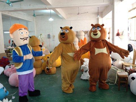 Bear Bear Two Costumes Cartoon Doll Clothing Ornaments Bear Haunt Bald Bald Strong Strong Mascot Costume