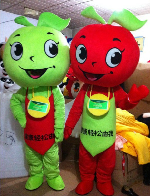 Creative Fruit Red Apple Doll Costume Props Performance Clothing Walking Mall Green Apple Stuffed Doll Clothing Mascot Costume