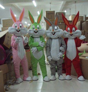 Easter Bunny Halloween Costume Cartoon Doll Costume Bugs Bunny Cartoon Costume Multicolor Mascot Costume