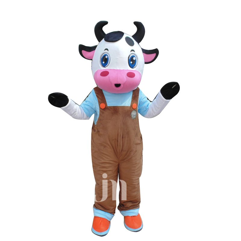Cute Cartoon Cow Vest Walking Doll Doll Cartoon Clothing Sets Vest Cute Cow Head Mascot Costume