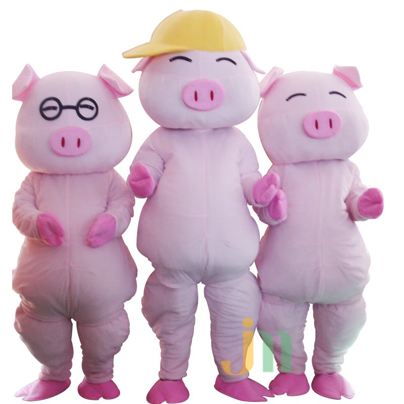 Three Japanese Cartoon Pig Cartoon Dolls Clothing Walking Doll Japanese Doll Pig Mascot Costume