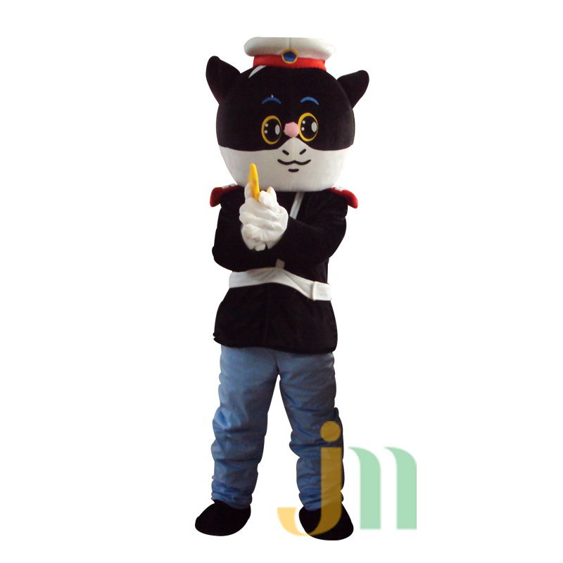 Cartoon Black Cat Detective Doll Cartoon Walking Doll Clothing Hedging Black Sergeant Mascot Costume