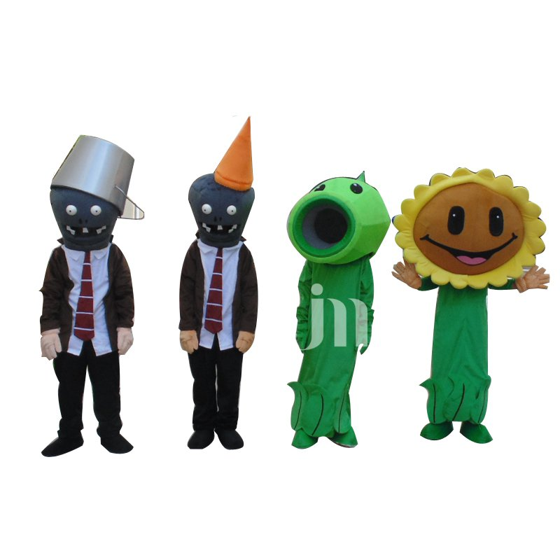 Zombies Pop Cartoon Doll Clothing Iron Barricades Sunflower Pea Shooter Zombie Mascot Costume