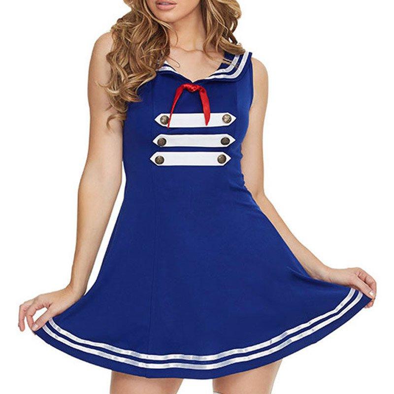 Fashionable Seamaster Dress V - Neck Sleeveless Bow Decorative Blue Dress Halloween Costume