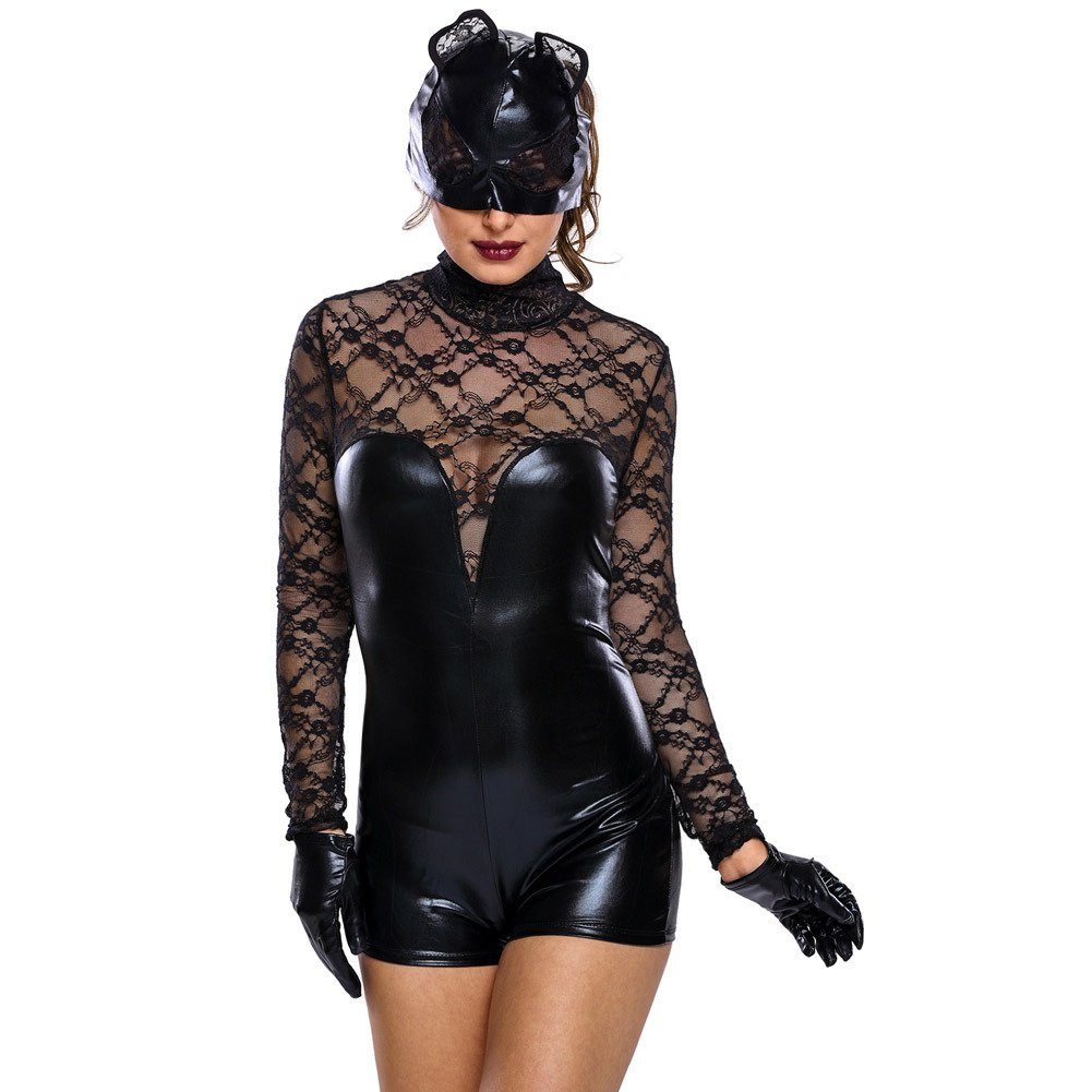 Europe and The United States Black High School Collar Party Long Sleeve Lace Lace Catwoman Halloween Costume