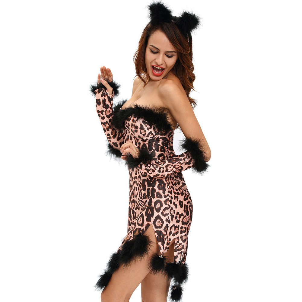 Europe and The United States Halloween Performance Clothes Shaggy Sexy Leopard Irregular Skirt Dress Halloween Costume