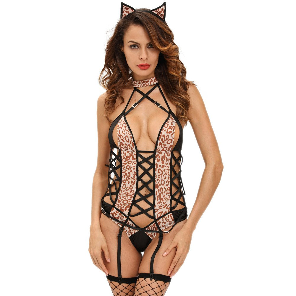 Europe and The United States Halloween Role - Playing Cat Girl Performance Leopard Piece Piece Stage Equipment Halloween Costume