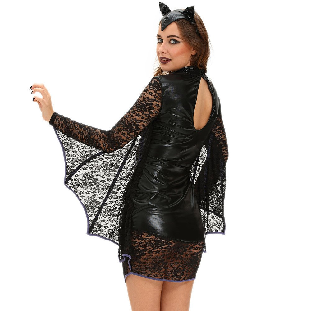 European and American Halloween Black Dress High - Necked Lace Long Sleeve Sexy Bat - Stage Costume Halloween Costume