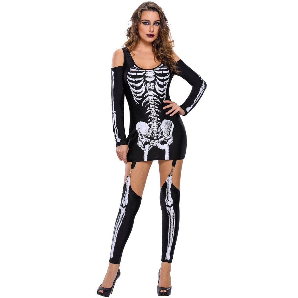 European and American Halloween Makeup Skeleton Printed Sexy Strapless Dark Performance Service Halloween Costume