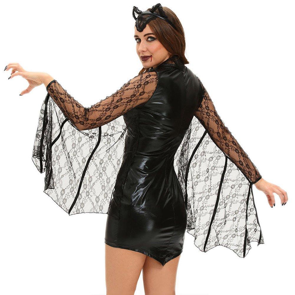 European and American Halloween Mini Black Dress Sexy Moonlight Vampire Bat Stage Costume Halloween Costume