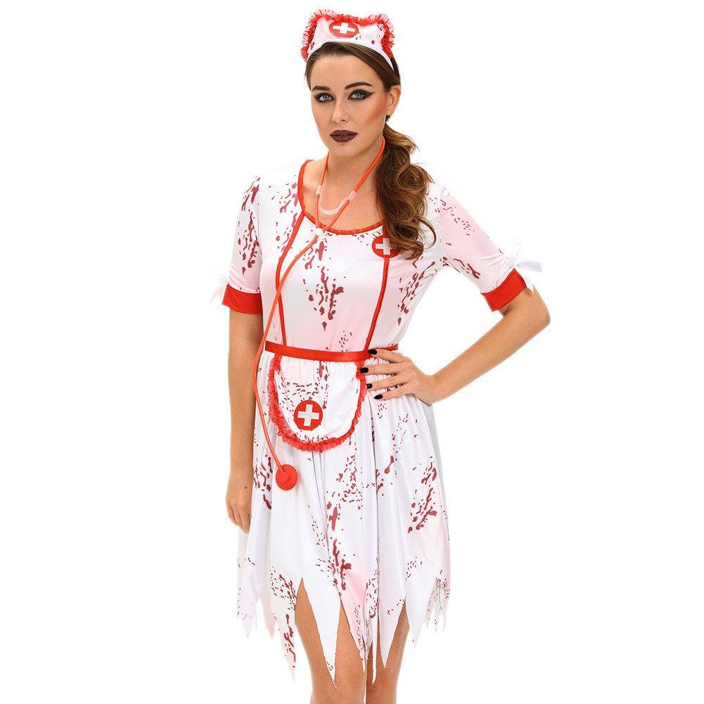 Halloween Horrible Zombie Nurse Installed Irregular Hem Three - Piece Women #39 S Performance Stage Service Halloween Costume