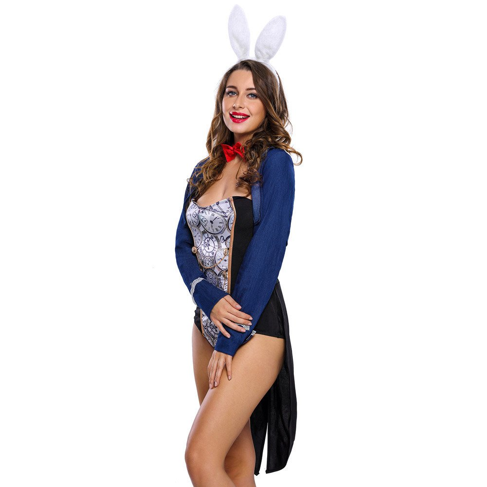 Halloween Stage Dress Sexy Bunny Dress Four One Tight - Fitting Long - Sleeved Jumpsuit Halloween Costume