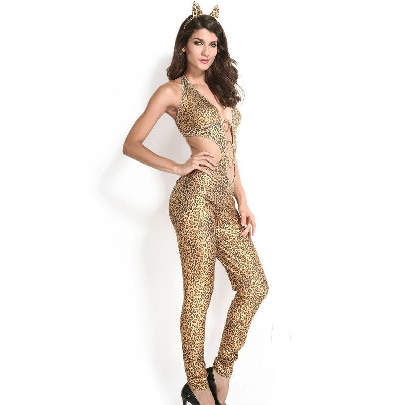 Sexy Yellow Leopard Lion Installed Catwoman Singer Stage Uniform Performance Uniforms Halloween Costume
