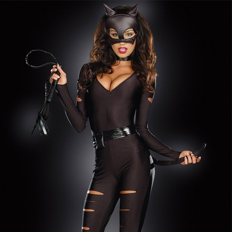 Europe and The United States Costumes Play Halloween Role As A Thief Tight Body with Leather Stage Installed Halloween Costume